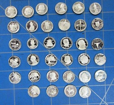 Set Of 34 Different Mini U.s. Commemorative Half Dollar Novelty Coins