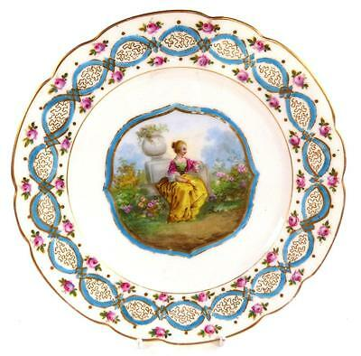 Antique French Sevres Style Hand Painted Porcelain Plate