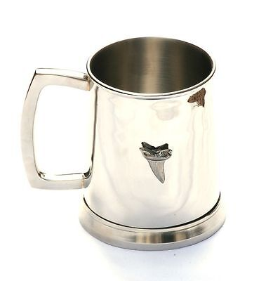 Shark Tooth Tankard Metal Pint Drinks Mug Enthusiast Sea Wildlife Present 320
