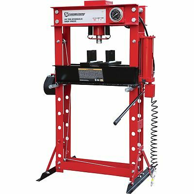 Strongway Air/Hydraulic Shop Press with Gauge and Winch - 40-Ton Capacity