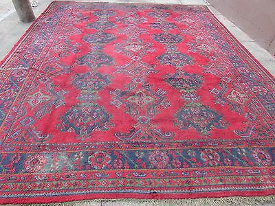 Antique Hand Made Turkish Ushak Oushak Red Wool Large Huge Carpet Rug 413x332cm