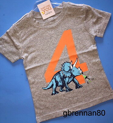 ~NEW~ 4th Birthday DINO Baby Boys Shirt 4T Gray 4 Years Gift! SS Carters Party