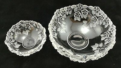 Set Of 2 Mikasa Carmen Satin Pattern Walther Crystal Fruit Bowls West Germany