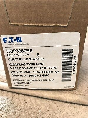 New EATON HQP3060R6 Circuit Breaker  TYPE HQP 60A 240VAC 3 POLE Lot Of 5