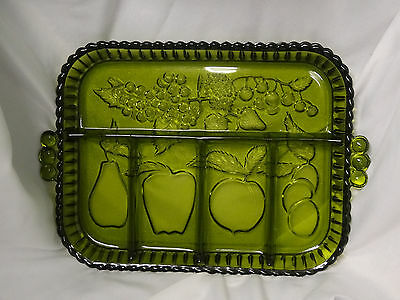 Vintage Indiana Glass Avocado Green Divided Serving Tray Fruit Platter Plate *