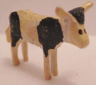 "Tiny Antique Carved Wooden Putz Christmas Toy Cow Figure 1 1/4"" Germany 1920s"