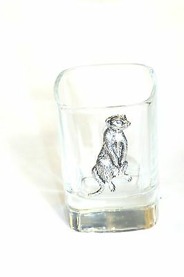 Pewter Meerkat on Crystal Shot Tot Glass Cup Ideal  Gift