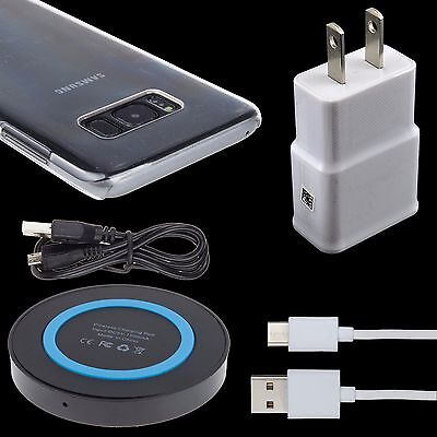 QI Wireless Pad + Wall Charger+ USB Cable + Hard Case For Samsung Galaxy S8 Plus