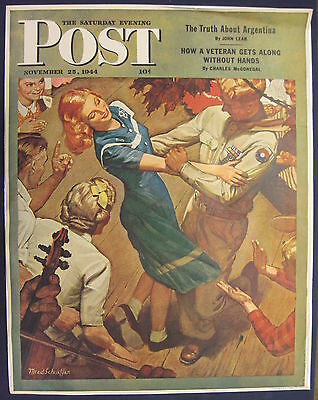 Saturday Evening Post Large Poster Mead Schaeffer WWII GI Dancing 1944