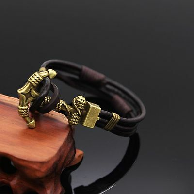Mens Womens Multilayer Genuine Leather Wrap Rope Cuff Anchor Bracelet Wristband