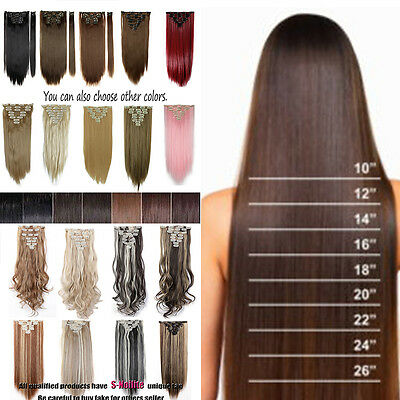 Full Head Clip in Hair Extensions 8PCS/SET Thick Hairpiece Black Brown Pink P97