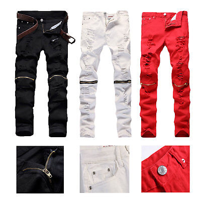 c310f57295c5 Mens Red White Distressed Ripped Biker Jeans Skinny Slim Knee Zipper Denim  Pants