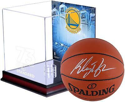 Klay Thompson Warriors Signed Ball & Case & Record Breaking Season Collage