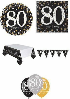 80th Birthday Party Pack 8 Black Silver & Gold Tableware Decorations Bunting