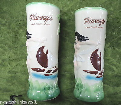 #Tt.  Pair Harvey's Lake Tahoe Nevada Ceramic Drinks Vessels