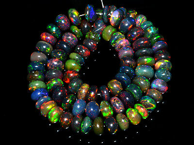 O- Ethiopian Opal Welo Gemstone Black Rondelle Smooth Loose Bead Strand Necklace