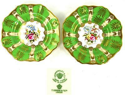 PAIR HAND PAINTED HAMMERSLEY PORCELAIN DESSERT PLATES SIGNED D MILLINGTON d