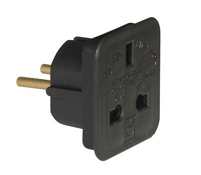 Black UK - EU Euro Europe European Travel Adaptor Plug 2 Pin Adapter CE Approved