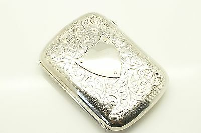 Antique 1904 Engraved Sterling Silver Cigarette Case, 56g