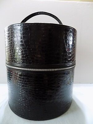 Vintage Tall Black Zip Around Hat Pill Box Faux Alligator 60's Era  Luggage