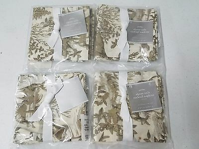 Pottery Barn Alpine Toile GOLD Cocktail Napkins set of 8