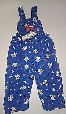 Oshkosh B'gosh Vintage Baby Clothes Overalls Size 6-9 Months Blue Boats, Ocean