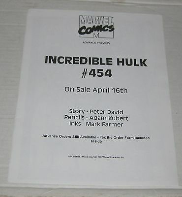 INCREDIBLE HULK, THE Retailer Advanced Preview Copy (1997)  #454 Marvel  VF/NM