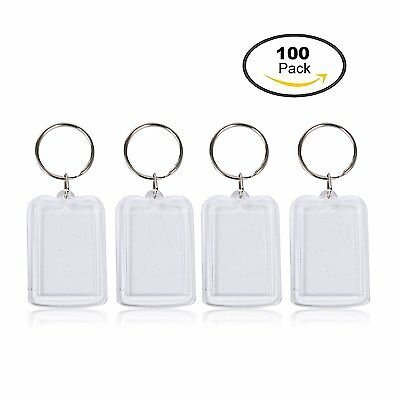 100 sets Clear Acrylic Blank Photo Picture Frame Keychain Keyring Collect hot!
