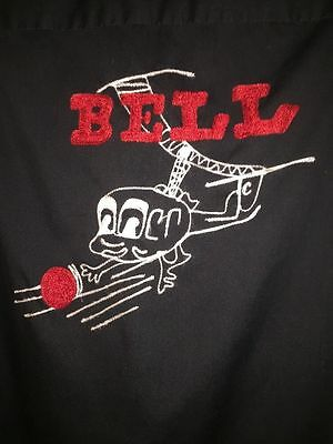 Vintage Bell Helicopter Black Bowling Shirt Hilton Large 1950s Caricature Copter