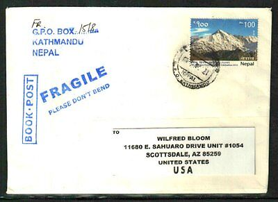 Nepal Commercial Cover To Usa Franked 2013 Mt.cho-Oyu Nice