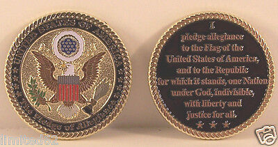 "U. S. A. ""The Pledge of Allegiance"" Challenge Coin with Stand"