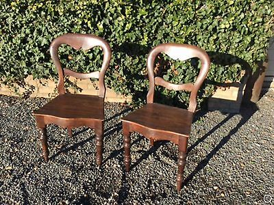 Antique Pair Of Victorian Balloon Back Bedroom / Occasional / Hall chairs