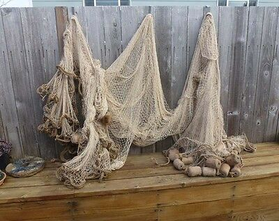 Japanese Fishing Net /Rope W/ Attached 38 Wood Fishing Floats,
