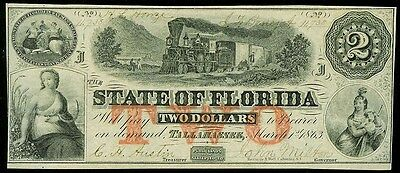 1863 State Of Florida Tallahassee $2 Obsolete Bank Note Au-Unc Condition Cr. 18