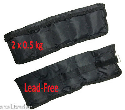 2x 0.5kg (1kg) LEAD FREE ANKLE WRIST WEIGHTS ADJUSTABLE  FITNESS YOGA TRAINING