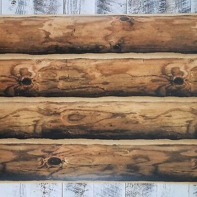 York Log Wallpaper Rustic Mountain Lodge Cabin 3D Realistic Wood Brown CH7980