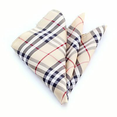 Celino silk nova check plaid tan multi color pocket square hanky handkerchief