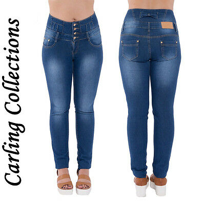 *SALE* High Waisted Ladies Skinny Slim Fit Blue Jeans Stretch Denim Button Style