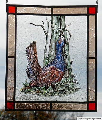 Leaded Glass Window Image rare Glass Painting-disc Capercaillie