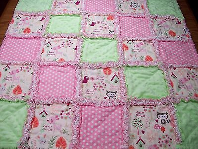 Girls Rag Quilt Forest Animals Pink Baby Blanket Toddler Handmade Nursery Lap