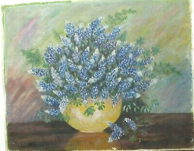 Small Original Oil On Board Blue Floral Vase Painting Unsigned