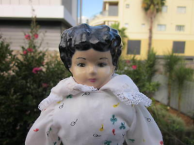 "Hand Made Lovely Reproduction Porcelain Doll,13 1/2"" Wearing Nice Handmade Outfi"