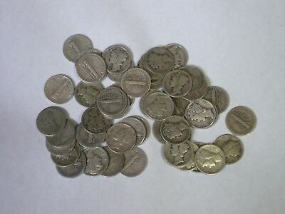 Roll of 50 Mercury Dimes Mixed Dates 90% Silver Coins Fifty $5 Face Value