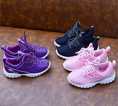 Kids Boys Girls Casual Trainers Children Lace Up Sport Shoes Sneakers Breathable