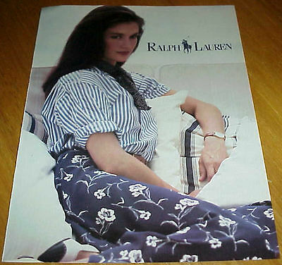 1986 RALPH LAUREN Clothing Vintage 1 Page Ad with Kristin Clotilde #122916