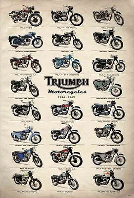 "TRIUMPH MOTORCYCLES VINTAGE MANY MODEL THE POSTER 24""x36"" NEW SHEET WALL J-4310"