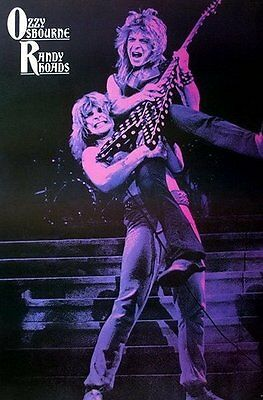 "OZZY OSBOURNE RANDY RHOADS POSTER 24""x36"" MUSIC ROCK CONCERT SIDE SHEET J-1119"