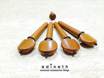 Violin & Viola Stained Boxwood Hill Model Pegs & Endpin set with Ebony Accents