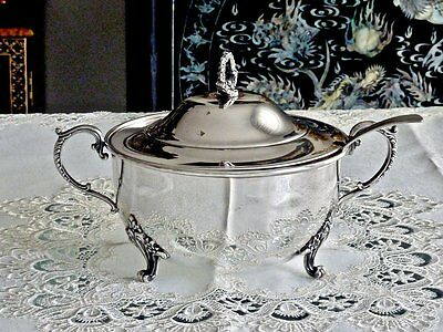 Outstanding Antique Silver Plated Lidded Casserole Dish W / Ladle America C 1900
