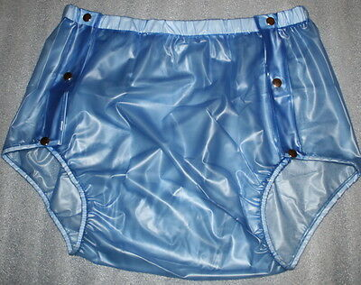 PVC adult baby Knöpfer Windelhose Gummihose blau transparent